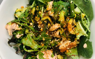 Salmon salad with Char-grilled veggies, avocado and Warm Spiced Dukkah